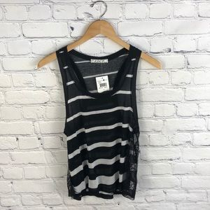 Chloe K from Nordstrom Striped Sheer Lace Tank M
